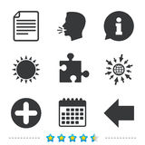 Plus circle and puzzle signs. File, arrow. Plus add circle and puzzle piece icons. Document file and back arrow sign symbols. Information, go to web and Stock Photos