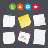 Plus circle and puzzle signs. File, arrow. Business paper banners with notes. Plus add circle and puzzle piece icons. Document file and back arrow sign symbols Stock Photos