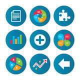 Plus circle and puzzle signs. File, arrow. Business pie chart. Growth curve. Presentation buttons. Plus add circle and puzzle piece icons. Document file and Stock Photo