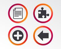 Plus circle and puzzle signs. File, arrow. Plus add circle and puzzle piece icons. Document file and back arrow sign symbols. Infographic design buttons. Circle Stock Photo