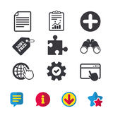 Plus circle and puzzle signs. File, globe. Plus add circle and puzzle piece icons. Document file and globe with hand pointer sign symbols. Browser window Royalty Free Stock Photos