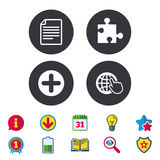 Plus circle and puzzle signs. File, globe. Plus add circle and puzzle piece icons. Document file and globe with hand pointer sign symbols. Calendar, Information Stock Images