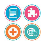 Plus circle and puzzle signs. File, globe. Plus add circle and puzzle piece icons. Document file and globe with hand pointer sign symbols. Colored circle Stock Image