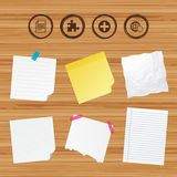 Plus circle and puzzle signs. File, globe. Business paper banners with notes. Plus add circle and puzzle piece icons. Document file and globe with hand pointer Stock Photos