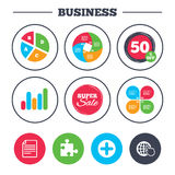 Plus circle and puzzle signs. File, globe. Business pie chart. Growth graph. Plus add circle and puzzle piece icons. Document file and globe with hand pointer Royalty Free Stock Photos