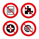 Plus circle and puzzle signs. File, globe. No, Ban or Stop signs. Plus add circle and puzzle piece icons. Document file and globe with hand pointer sign symbols Stock Photo
