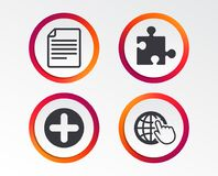Plus circle and puzzle signs. File, globe. Plus add circle and puzzle piece icons. Document file and globe with hand pointer sign symbols. Infographic design Stock Images