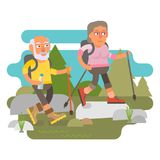 50 plus - couple hiking. Active leisure in nature Stock Images