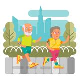 50 plus - couple running together, active leisure Stock Photos