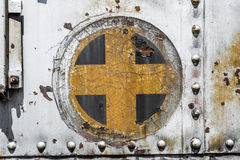 Plus cross add old metal background texture. Plus cross add sign symbol background texture from an old metal train car Royalty Free Stock Photography