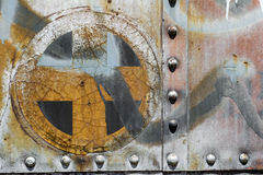 Plus cross add old metal background texture. Plus cross add sign symbol background texture from an old metal train car Royalty Free Stock Photo