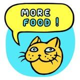 Plus de nourriture ! Bande dessinée Cat Head Bulle de la parole Illustration de vecteur Photos stock