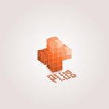 Plus designen 3d Orange monochromatic vektordesign vektor illustrationer