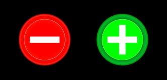 Plus en minus rode en groene cirkel 3D knoop Voeg toe, annuleer, of plus en minus tekens op knopen of cirkelspictogram op bl word Stock Fotografie