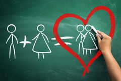He  plus she equals love Royalty Free Stock Photos
