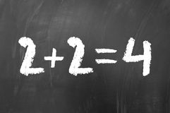 2 plus 2 equals 4. Simple math problem solved on a school blackboard Royalty Free Stock Photos