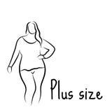 Plus formatmodellkvinna skissa Handteckningsstil Modelogo med övervikt Curvy kroppsymbolsdesign också vektor för coreldrawillustr royaltyfri illustrationer