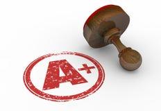 A plus för ställningstämpel för kvalitet perfekt bokstav Arkivbild