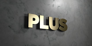 Plus - Gold sign mounted on glossy marble wall - 3D rendered royalty free stock illustration. This image can be used for an online website banner ad or a print royalty free illustration