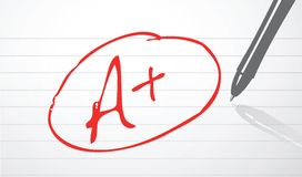 A plus grade. Illustration design over a notepad paper Stock Image