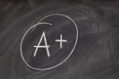 A plus grade on blackboard Stock Photography