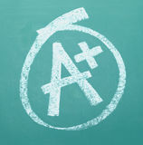 A Plus. A grade drawn and circled on a chalk board Royalty Free Stock Photography
