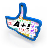 A Plus Grade Score Blue Thumb Up Symbol Review. A Plus words as perfect score or grade on a blue thumbs up sign or symbol Royalty Free Stock Photos