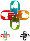 Plus hands. Isolated illustrated plus hands logo design Stock Photos