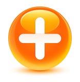 Plus icon glassy orange round button Royalty Free Stock Photo