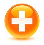 Plus icon glassy orange round button Royalty Free Stock Images