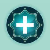 Plus icon magical glassy sunburst blue button sky blue background stock illustration