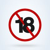 18 plus icon in trendy flat style isolated on background. 18 puls vector red royalty free illustration