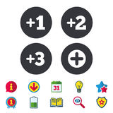 Plus icons. Positive symbol. Add one more sign. Plus icons. Positive symbol. Add one, two, three and four more sign. Calendar, Information and Download signs Stock Photography