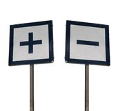 Plus and minus. Two signposts with plus and minus isolated on white background, conceptual Stock Image