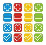 Plus, minus, check, cross button sets Royalty Free Stock Photo