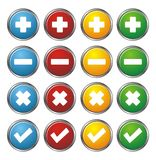 Plus, minus, check, cross circle buttons Stock Photography