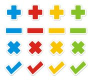 Plus, minus, check, cross sticker sets Royalty Free Stock Photos