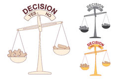 Plus and Minus on Decision Scale Stock Photography