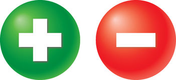 Plus and minus. In green and red colour stock illustration