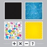 Plus and minus icons. Question FAQ symbol. Stock Image