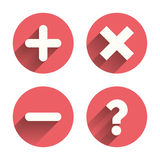 Plus and minus icons. Question FAQ symbol Stock Image