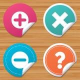 Plus and minus icons. Question FAQ symbol. Stock Photos