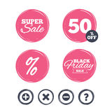 Plus and minus icons. Question FAQ symbol. Royalty Free Stock Photos