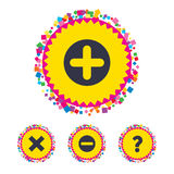 Plus and minus icons. Question FAQ symbol. Royalty Free Stock Photo