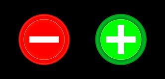 Plus and minus red and green circle 3D button . Add, cancel, or the plus and minus signs on buttons or circles icon isolated on bl Stock Photography