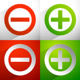 Plus, minus signs. Addition, subtraction icons, symbols with dia Royalty Free Stock Photography