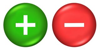 Plus and minus signs Buttons. Green stock illustration