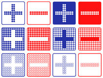 Plus Minus Symbols Patchwork of Color Dots. Stock Image