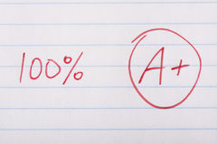 A plus 100 percent grade. A plus (A+) grade with 100 percent written in red pen on notebook paper Royalty Free Stock Photos