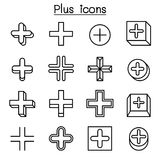 Plus, Positive , Cross Add icon set in thin line style. Vector illustration graphic design Stock Images